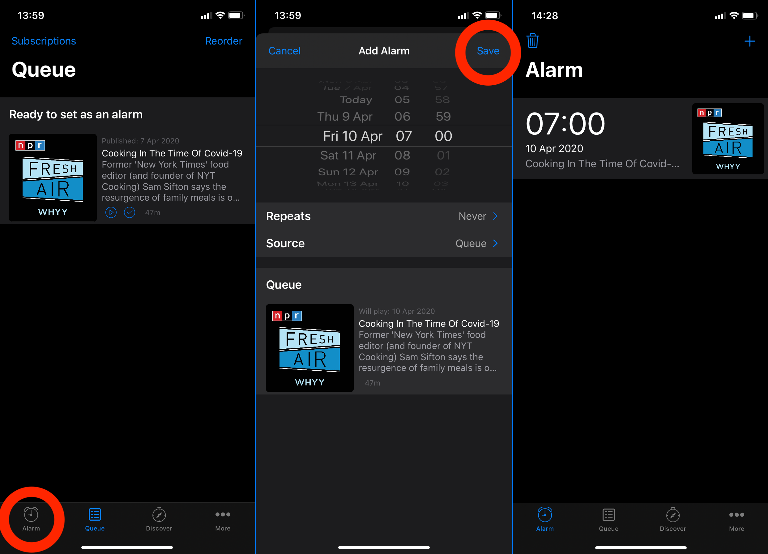Podcast Alarm first steps to set an alarm part 2